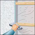 Крепление пластиковых панелей скобами к деревянному брусу